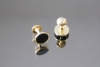 BL-309 gemelli in metallo colore oro con smalto nero