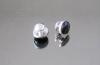 BL-226 Bottone in metallo colore nikel con pietra nera
